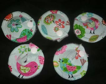 Gtube GJ PEG Button Gastrointesinal Medical Pads Cover set of 5 - Spring Birds - Made Ready to Ship