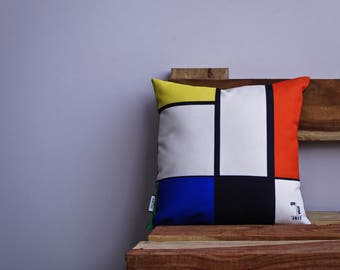 Stijl Abstract Line Pop Art Cushion Cover With Filler Geometric Design