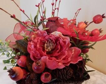 Red Blush Floral Basket-Metal Basket-Basket w/Bird-Table Decor-Gift for Mom