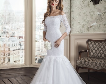 Mermaid/Trumpet Handmade Wedding Dress with Long Lace Sleeves, Bout Neckline with Stunning Detail, Off the Shoulder Bodice, Tulle Train