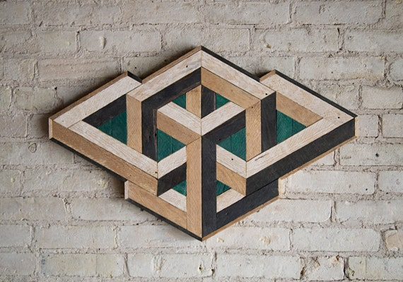 Reclaimed Wood Wall Art | Wood Decor  | Reclaimed Wood | Wood Art | Rustic Geometric| Wood Decor | Handmade |  Impossible Geometry | Modern