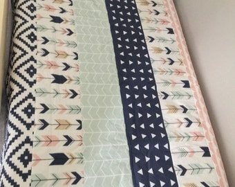 Navy Pink cotton & minky baby quilt. Modern baby quilt for baby girl
