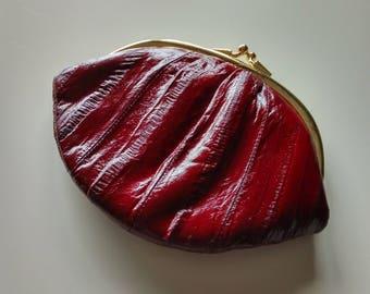 Burgundy Genuine Eel Skin Coin Purse Bag Made in Korea