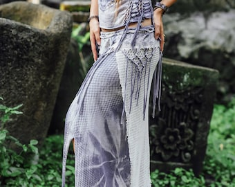 Light grey pixie goa style skirt Fairy clothing Tribal Festival look