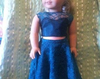 "2pc Elegant Green Gown fits 18"" dolls"