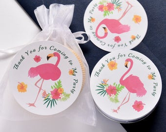 60 Round Flamingo Party Favor Stickers, Flamingo Party Favor, Flamingo Birthday Party Favors, Flamingo Party Supplies
