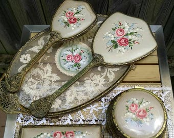 Vintage/Deco 1930s 1940s/ Petit Point/Dressing Table Set/6 Peices