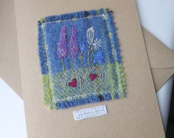 Garden Love card, tweed card, textile greeting card, handmade card, embroidered card,  stitched card, textile art card