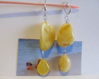 Natural Baltic Amber Yellow Silver 925 clasp Earrings huge 16.7 gr. egg yolk butterscotch  opaque