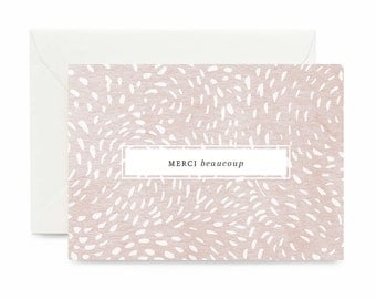 Merci beaucoup Greeting Card / Thank you Card / Greeting Card Rosé pink / Little Thank You / Bridesmaids Gift