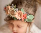 Handmade Spring Ivory and Peach Flower Crown // One Size // Nylon Headband // Wool Felt Floral Crown // Easter // Flower Girl // Bride
