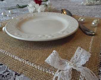 Burlap Placemats, Burlap and Lace Rustic Table Placemat