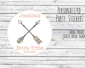 Personalized Bride Tribe Tribal Arrows Bachelorette Stickers, Birthday, Joing Tribe, Birthday Party Favor, Thank You Tags, Choose Size