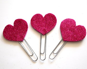 Pink Glitter heart paper clip Pink Heart Page mark Heart bookmark Pink glitter page mark Pink glitter paper clip Pink heart bookmark Glitter