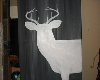 Deer Painting on Wood Barn Wood Painting Rustic Art Man Cave Antlers Wildlife Animals Cabin Decor Woodland Hunting Buck