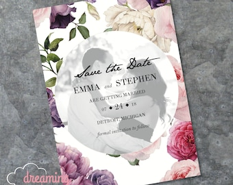 Romantic Floral Photo Save the Date - Flowers - Black and White Photograph