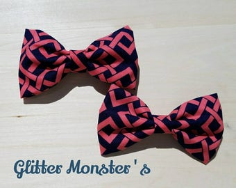 Boys Coral and Navy Bow Tie in Cotton, Ring Bearer Bow Tie, Groomsmen Bow Tie, Graduation Bow Tie, Clip on Bow Tie