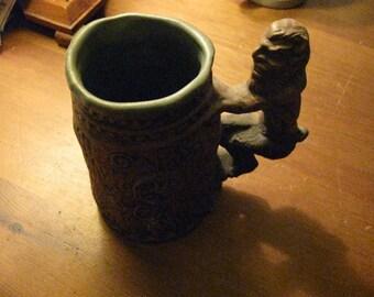 1971 Rumph Pottery Satyr Stein Mug w/ roll Women at Bottom