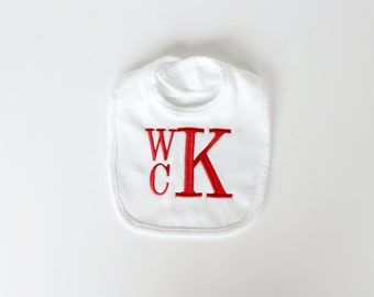 Monogrammed Baby Bib - Other Colors Available - Stacked Monogram Bib