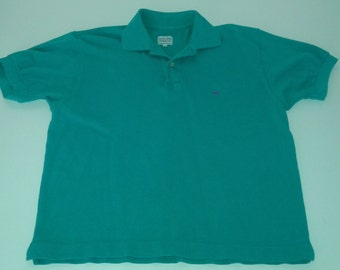 Vintage Retro  80's Men's size S Short Sleeve United Colors of Benetton Teal  3 button Golf Polo shirt