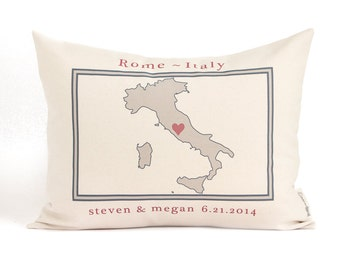 Map Pillow, Country or Region, Gift for Him, 2nd Anniversary, Gift For Traveler, Locations Pillow, Travel Map Pillows