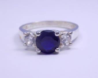 Blue Cz sterling silver ring size 7 1/4