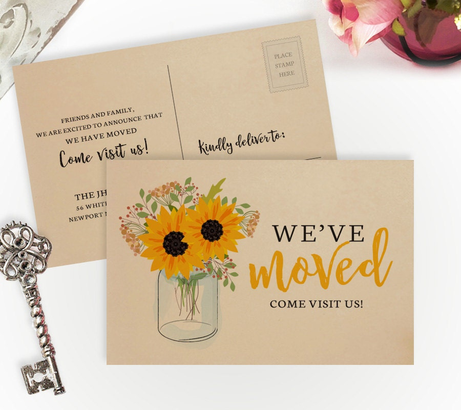 Sunflower Moving Announcements Printed On Kraft Paper