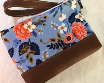 Les Fleurs Birch Periwinkle Cotton and Steel Clutch with Faux Leather