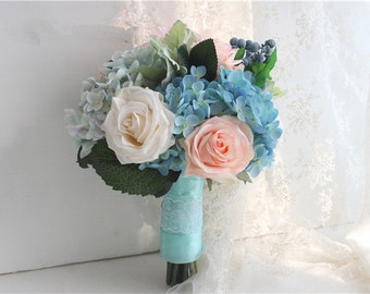 Top Quality And Elegant Hand Made Decorative Artificial Flower Bride Wedding Bouquets