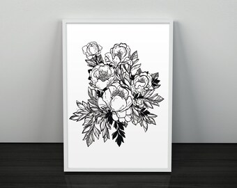 Peony Print Botanical Art Decor Floral Illustration