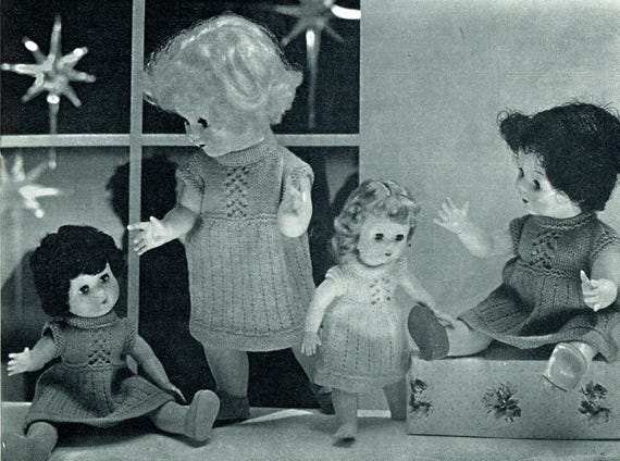 Patons Knitting Patterns For Dolls Clothes : PDF Vintage Doll Clothes Knitting Pattern Booklet 1950s ...
