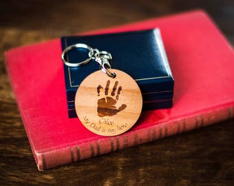 Father's Day keyring. Personalised with your child's handprint.