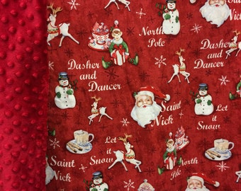 Christmas Minky Blanket,Christmas blanket,Christmas throw,Santa Claus Blanket,Reindeer blanket,Snowman throw,Christmas decor,Santa throw