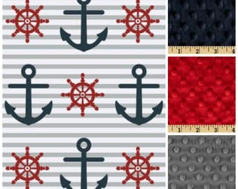 Anchor Blanket,Nautical Blanket,Nautical Minky Blanket,Nautical Lap Blanket,Adult minky blanket,Nautical throw,Lap Blanket,anchor minky