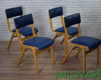 Vintage Retro Blue Vinyl Tecta Stacking School Cafe Bar Chairs (inc VAT)