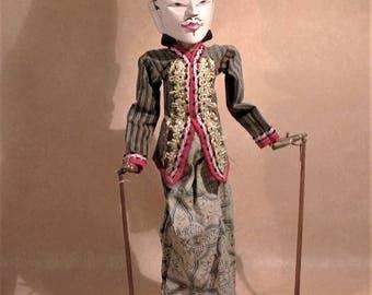 Vintage Wooden Doll, Wayang Golek Puppet, Batik Design Clothing, Hand Carved Doll, Ramayana Play Doll, Traditional Decorated Doll, Wayang