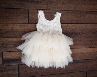 White Lace Flower Girl Dress, Ivory Tulle Wedding dress, Cream Tutu Dress, Elegant Boho Chic, Couture, Pearl Bead Detail, Shabby Chic Lace