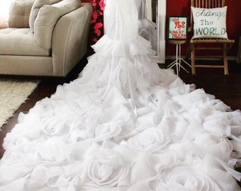Rosette chiffon wedding dress / lace and rosette bridal gown / luxury wedding dress with long train / kim inspired wedding gown /corset back