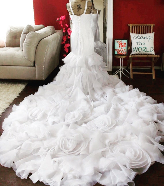 Rosette Chiffon Wedding Dress / Lace And Rosette Bridal Gown