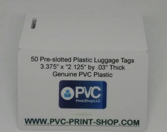 """Qty 50 - 3.375"""" x 2.125"""" Plastic Pre-Slotted White Luggage Tags, Customize Them Yourself With Glitter, Stickers, Paint, Etc - Craft Supplies"""
