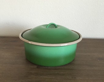 Green Enamel Pot with Lid; Green Ombré Enamel Bowl; Green Enamelware; Green Enamel Cookware; Vintage Enamelware; Enamel Cookware