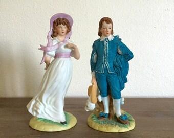 Vintage Lefton China Figurines Blue Boy & Pinkie; Hand Painted Lefton China Figurines; Lefton Pinkie Figurine; Lefton Blue Boy Figurine