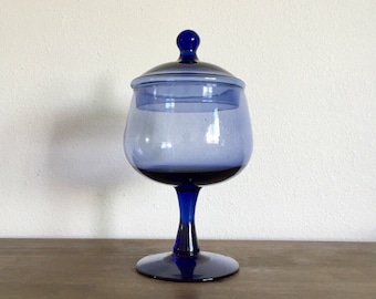 Cobalt Blue Glass Apothecary Jar; Cobalt Blue Glass; Hand Blown Glass; Glass Apothecary Jar; Circus Top Apothecary Jar