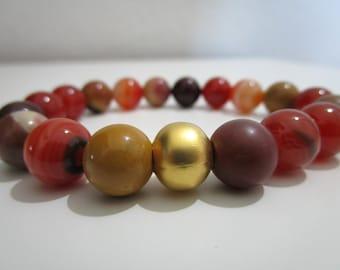 Bracelet Mokaita and agate fire, bracelet of stones semi-precious, bracelet for women, gift for women, bracelet agate fire, bracelet Mokaita