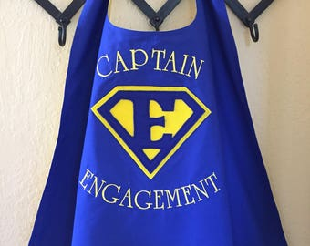 Adult - All Satin or Cotton/Poly with Satin Lining Cape with Embroidered Letterting and personalize shield