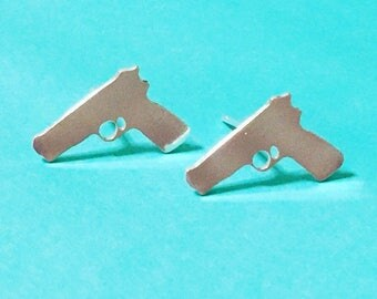 Silver Pistol Stud Earrings