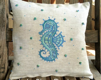"""LulaBleu-100% Pure Linen-Seahorse 12"""" Pillow...Embroidered & Hand Beaded / Stitched...Miyuki /Genuine Turquoise..Pillow included OOAK LBD"""