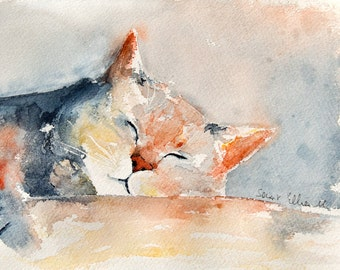 Original watercolor painting of a sleeping cat -  original  painting of a dreaming cat - gift idea - pet watercolor