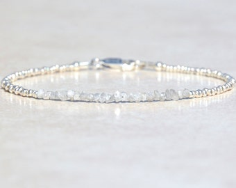 Diamond Bracelet, Genuine Raw Diamond Bracelet, Beaded April Birthstone, Sterling Silver, Delicate Rough Diamond Bracelet, Gift for Her