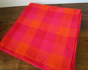 Vintage Square Table Cloth, Red Pink Orange Checkered , Plaid Tablecloth,  Scandinavian Tablecloth,